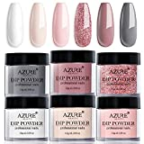 Dip Powder Nail Set, AZUREBEAUTY 6 Colors Classic Nude Collection Skin Tone Glitter Pastel Dipping Powder Kit French Nail Art Manicure DIY Salon Home Gifts for Women, No Need Nail Lamp Cured