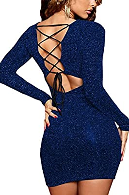 Back lace up and form fitting design perfectly show off your sexy curve Long sleeve sequin dress, deep v neck sparkling dress Criss cross mini bodycon bandage dress, above knee length glitter dress Ultra stretchy material: 58% chinlon/35% polyester/7...