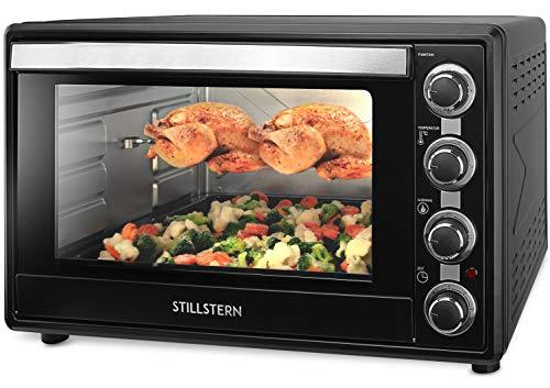Stillstern Forno Elettrico a circolazione d'aria (60L) con 2x teglia, guanti da forno, spiedo...