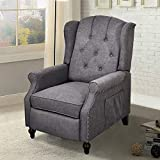 Recliner Chair, Accent Living Room Chairs with Massage and Heating, Comfy Tufted Upholstered Wingback Reading Chair Sofa, Mid-Century Modern Club Armchair, Linen/Wooden Legs (Gray)