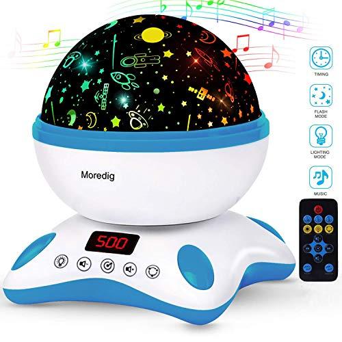 Moredig - Lampada Proiettore Stelle Bambini, Luce Musicale Notturna con 8 Colori, Telecomando, 360...