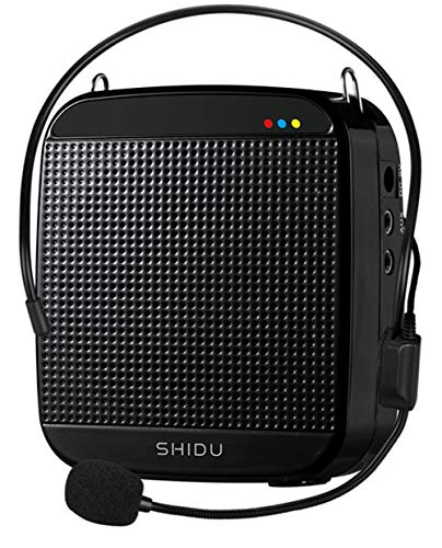 Voice Amplifier,SHIDU Mini Voice Amplifier with Wired Microphone Headset 15W Portable Personal Speaker MP3 Audio Sound System for Teachers,Elderly,Singing,Coaches,Yoga,Tour Guides,Outdoor Trainers