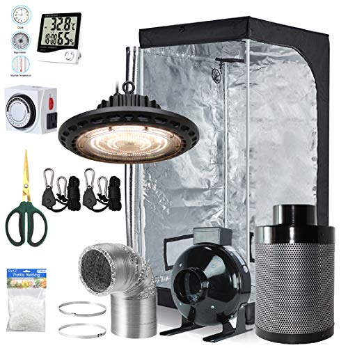 BloomGrow 300W Full Spectrum UFO LED Light + 32''x32''x63'' Grow Tent + 4'' Inline Fan Filter Duct Combo + Hangers + Hygrometer + Shears + 24-hour Timer + Trellis Netting Indoor Grow Tent Complete Kit