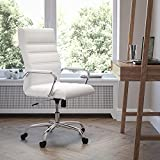 Flash Furniture High Back Office Chair | White LeatherSoft Office Chair with Wheels and Arms