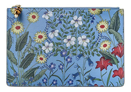 513nJVhD1HL Gucci Flora Azure Floral Blue Pouch Zipper Zip Leather Box Italy Flower New exact floral details vary per piece. Authentic Made in Italy New and never has been used Bag is available as a separate purchase. GUARANTEED AUTHENTIC. ORIGINAL, NEW WITH TAGS only 1. Made in Italy