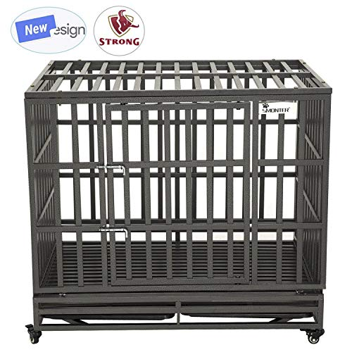 SMONTER 42' Heavy Duty Dog Crate Strong Metal Pet Kennel Playpen with Two Prevent Escape Lock, Large Dogs Cage with Wheels, Dark Silver