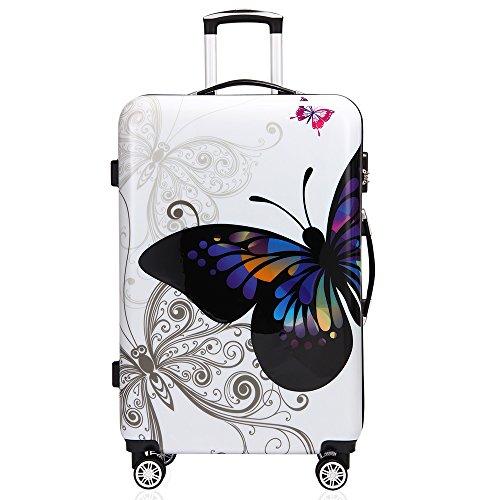 Monzana® Reisekoffer Hartschalenkoffer Butterfly Hartschale Trolley Koffer | ABS-Kunststoff | PC beschichtet | Alu Teleskopgriff | gummierte Zwillingsrollen | Größe XL