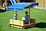 Sandkasten mit schwenkbarem Dach, Sitzbänke, Bodenplane, verschließbare Sandkiste aus Holz für Kinder, 120 x 120 x 120 cm, hellbraun - 6