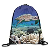 uykjuykj Bolsos De Gimnasio,Mochilas,Drawstring Bag Green Sea Turtle Rucksack For Gym Hiking Travel Stylish Color 07 Lightweight Unique 17x14 IN