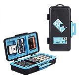 LENSGO custodia per scheda di memoria per fotocamera, custodia rigida per schede di memoria, impermeabile, antiurto, compatta, per 3 batterie per fotocamera, 3 XQD o 3 schede CF, 6 schede SD (blu)