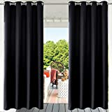 PRAVIVE Black Outdoor Curtains Waterproof - Indoor / Outdoor Patio Blinds Decor Drapes Cabana Shades Pergola Curtains Blackout Panels with Grommets, Black, 52' x 108' , 1 Piece