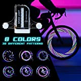 Rechargeable Bike Wheel Lights Waterproof LED Bicycle Spoke Lights with Rechargeable Batteries Included for Safe Cycling Kids Girls Boys Adults Mountain Bike BMX Bike Folding Bike(2 Pack)