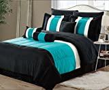 EMPIRE 8-Piece Oversized Teal Blue & Black Comforter Set Bedding with Sheet Set (Queen)