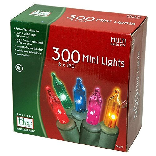 Holiday Wonderland's 300-Count Mini Multi Color Christmas Light Set