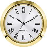 Hicarer 2-1/8 Inch (55 mm) Quartz Clock Fit-up/Insert, Fit Diameter 1.97 Inch (50 mm) Hole, Zinc-Alloy Metal Case, Roman Numeral (Gold)