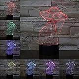 Creative space frisbee lámpara de mesa 3D luz LED multicolor intermitente desvanecido regalo de cumpleaños de vacaciones para científico signo creativo luz nocturna