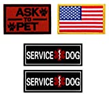 Tactical Patches of USA Flag & Ask to Pet & Service Dog, with Hook and Loop for Backpacks Caps Hats Saddlebags Harness Vests, Military Army Uniform Morale Emblems