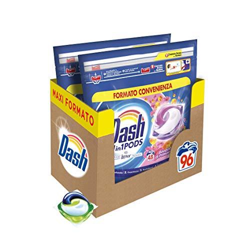 Dash Pods Allin1 Detersivo Lavatrice in Capsule Bouquet Primaverile, Maxi Formato da 48 x 2 Pezzi, 96 Lavaggi