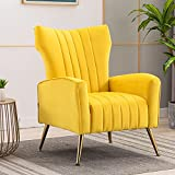 Artechworks Curved Tufted Accent Chair with Metal Gold Legs Velvet Upholstered Arm Club Leisure Modern Chair for Living Room Bedroom Patio, Yellow