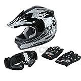 TCMT Dot Youth & Kids Motocross Offroad Street Helmet Black Skull Motorcycle Youth Helmet Dirt Bike Motocross ATV Helmet+Goggles+Gloves M