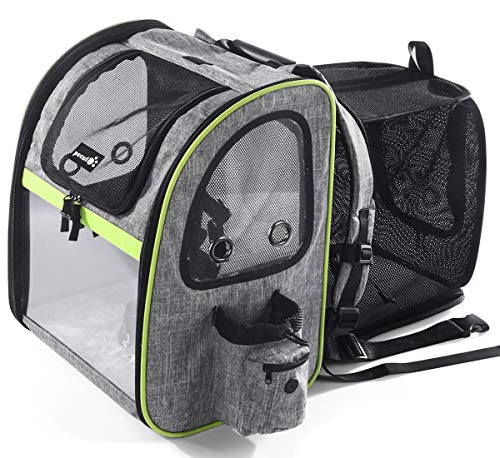 Pecute Pet Carrier Backpack, Dog Carrier Backpack, Expandable with Breathable Mesh for Small Dogs Cats Puppies, Pet Backpack Bag for Hiking Travel Camping Outdoor Hold Pets Up to 18 Lbs
