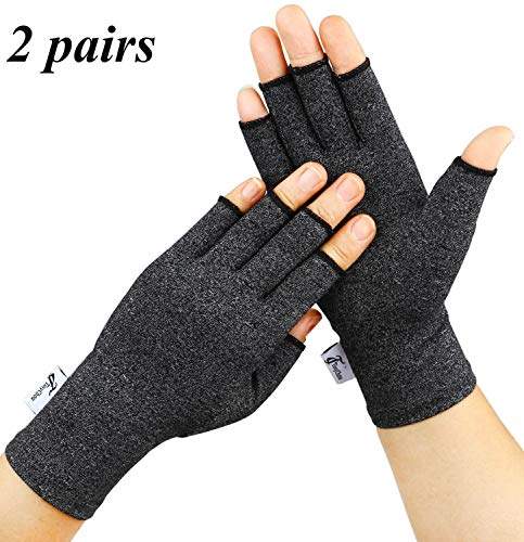Arthritis Gloves, 2 Pairs Compression Gloves for Women Men, Fingerless Gloves Support and Warmth for Hands, Finger Joint, Relieve Pain from Rheumatoid, Osteoarthritis, RSI (Black, Medium-2 Pairs)