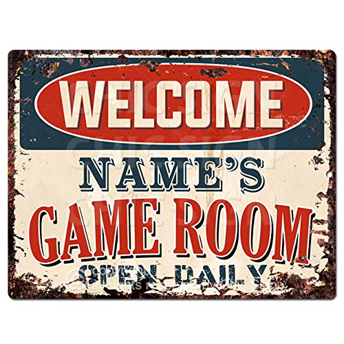 Welcome Name's Game Room Open Daily Custom Personalized Tin Chic Sign Rustic Vintage Style Retro Kitchen Bar Pub...