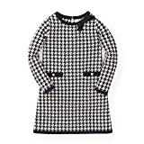 Hope & Henry Girls' Black and White Houndstooth Sweater Dress