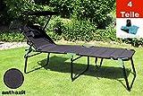 Aluminium Sonnenliege XXL klappbar mit Dach bis 150 kg Klappliege 5-Fach verstellbar - 4