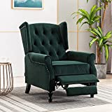 Artechworks Velvet Tufted Push Back Arm Accent Chair Recliner Single Reclining for Adjustable Club Chair Home Padded Seating Living Room Lounge Modern Sofa,Green