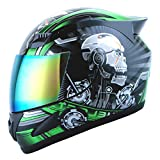 1STORM MOTORCYCLE BIKE FULL FACE HELMET MECHANIC SKULL - Tinted Visor GREEN