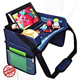 DMoose Travel Lap Activity Tray for Kids and Toddlers, Padded Comfort Base, Side Walls, Mesh Snack Pockets, Tablet Holder, Waterproof Car Seat, Stroller, Airplane Play and Learn Area