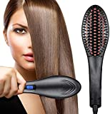 Piesome Hair Electric Comb Brush 2 in 1 Ceramic Fast Hair Straightener For Women's Hair Straightening Brush with LCD Screen, Temperature Control Display,Hair Straightener For Women (Black)