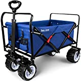 BEAU JARDIN Folding Wagon Cart 300 Pound Capacity Collapsible Utility Camping Grocery Canvas Sturdy Portable Rolling Lightweight Buggies Outdoor Garden Sport Heavy Duty Shopping Wide All Terrain Wheel