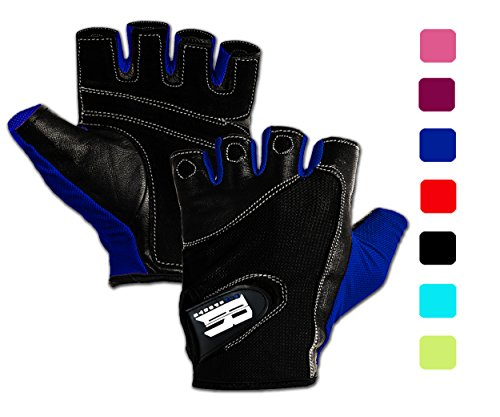 Workout Gloves for Women and Men, Non slip Leather Padded Weight Lifting Gloves for Weightlifting, Fitness, Exercise, Training and Cycling, Washable Gym Gloves Prevents Calluses and Blisters