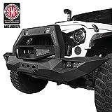 Hooke Road Solid Steel Full Width Front Bumper Gladiator Bull Bar w/Winch Plate for Jeep Wrangler JK & Unlimited 2007-2018
