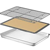 Baking Sheet with Silicone Mat, Umite Chef 16 x 12 x 1 inch Cookie Sheet Baking Pan, Non Toxic Silicone Baking Mat & Stainless Steel Cooling Rack Heavy Duty & Easy Clean