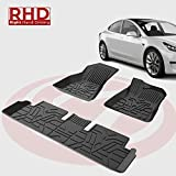 BougeRV for RHD Model 3 Car Floor Mats, All Weather Floor Liners 3D Full Cover Floor Mats Carpet, Waterproof, Heavy Duty, Largest Coverage, TPE Odourless Rubber for RHD Model 3 2017 2018 2019 2020