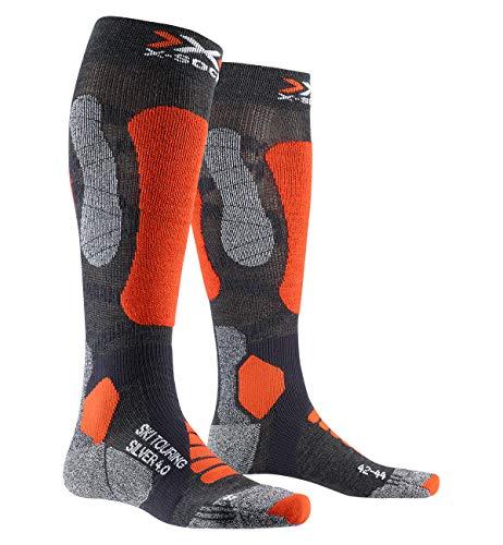 X-Socks Ski Touring Silver 4.0, Calzini Unisex-Adulto, Anthracite Melange/Orange Fluo, 45-47