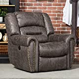 ANJ Electric Recliner Chair W/Breathable Bonded Leather, Classic Single Sofa Home Theater Recliner Seating W/USB Port (Smoky Gray)