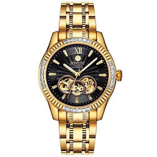 BINLUN Herren Uhren Automatik Mechanische wasserdichte Goldene Herrenuhr 18 Karat Vergoldete Leuchtende Edelstahl Armbanduhren für Männer mit Datum