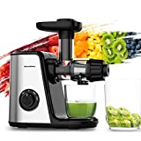 Bonsenkitchen Stainless Steel Masticating Juicer Easy to Clean, 80RPM Soft & Hard 2 Speed Control, Quiet Motor & Reverse Function, 150W Veggies Fruits Juice Extractor, Cold Press Slow Juicer Machine with 700ml Juice Container & Brush