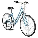 Retrospec Critical Cycles Women's Barron Hybrid 21 Speed Bike, Powder Blue, 14'/X-Small