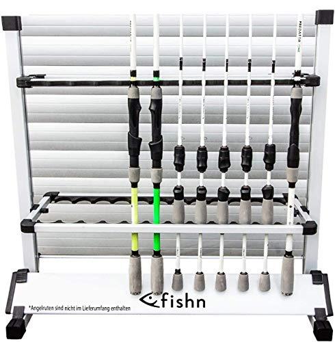FISHINGGHOST Asta di Supporto per 24 canne da Pesca in Alluminio di Alta qualit, portacanne, Porta Canna da Pesca - 72 x 70 x 30 cm