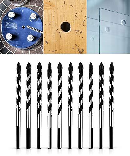 Qwork Juego De Brocas Multimateriales Para Cerámica, Azulejos, Hormigón, Ladrillo, Vidrio, Plástico Y Madera, 10 Unidades De 6 Mm (1/4 Pulgadas)
