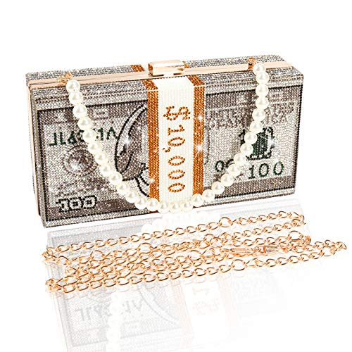 514BFBd7XiL Material: This cash clutch bag is made of alloy, rhinestone are set on the outside of the bag. Various colors of rhinestone will get eyes-catching. Unique Pattern: Our dollar handbag is designed by 100 dollar pattern, and rectangle shape is different from casual bag. Pearl strap is easily for match with your daily outfit, especially join the evening party. Two Strap: One chain strap & One pearl chain strap. Removable design is convenient to take on / off, make two style of wearing ways, you can used as a crossbody, clutch purse or tote bag.