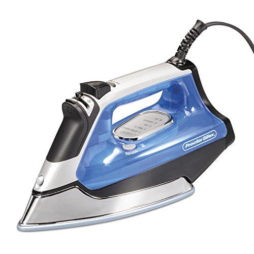 Proctor Silex Electronic DuraGlide Ceramic Nonstick Soleplate Iron, 1600 Watts, Vertical Steam, Self Clean (17010), Blue