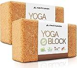 Juego de 2 Bloques de Yoga de Corcho 100% Natural - Hatha Klotz también para Principiantes Meditación y Pilates, Accesorios de Fitness ayudas para la regeneración, Espalda, Dos Bloques Pieza 75 mm