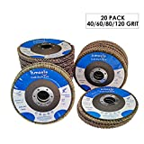 amoolo 4 1/2 Flap Disc (20 Pack), T29 Aluminum Oxide Angle Grinder Sanding Disc (40 60 80 120 Grit), Abrasive Grinding Wheel (7/8 inch Arbor Size)