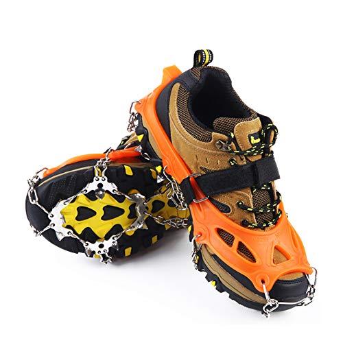 Weyo 19 Dientes Garras Acero Inoxidable Cadena Crampones Bota De Montaña Antideslizante Zapatos Cover para Camping y Alpinismo en Esquí Hielo Nieve Senderismo al Aire Libre Deportes Al Aire Libre 1